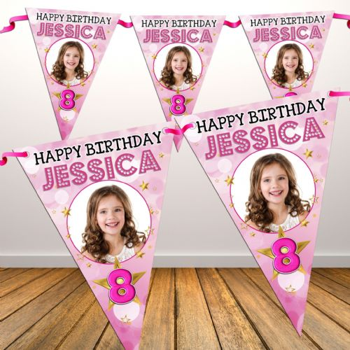 Personalised Girls Star Sparkle Happy Birthday Flag PHOTO Bunting Banner - N78 ANY AGE